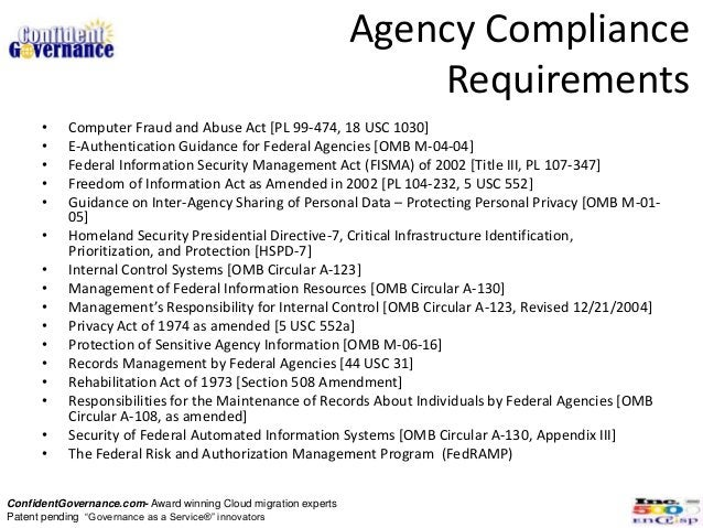 Agency Compliance                                                                     Requirements      •    Computer Frau...