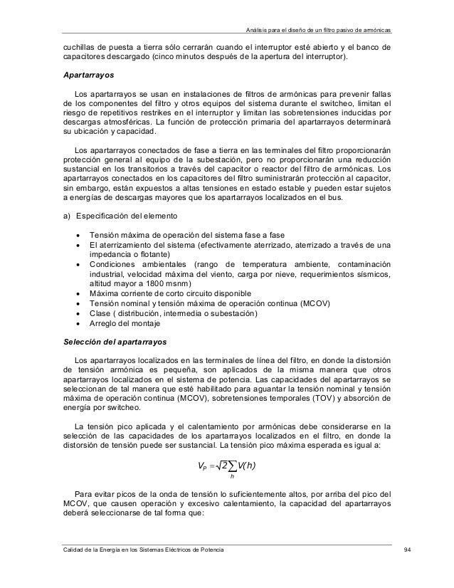 Operación de filtros análisis y diseño