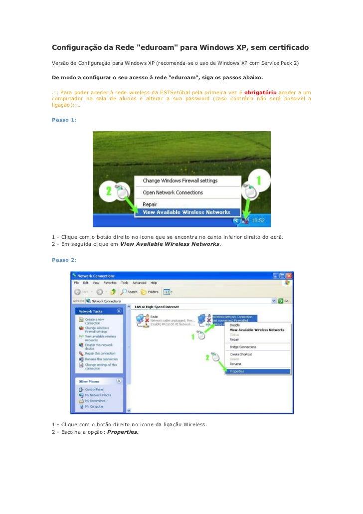 """Configuração da Rede """"eduroam"""" para Windows XP, sem certificadoVersão de Configuração para Windows XP (recomenda-se o uso ..."""