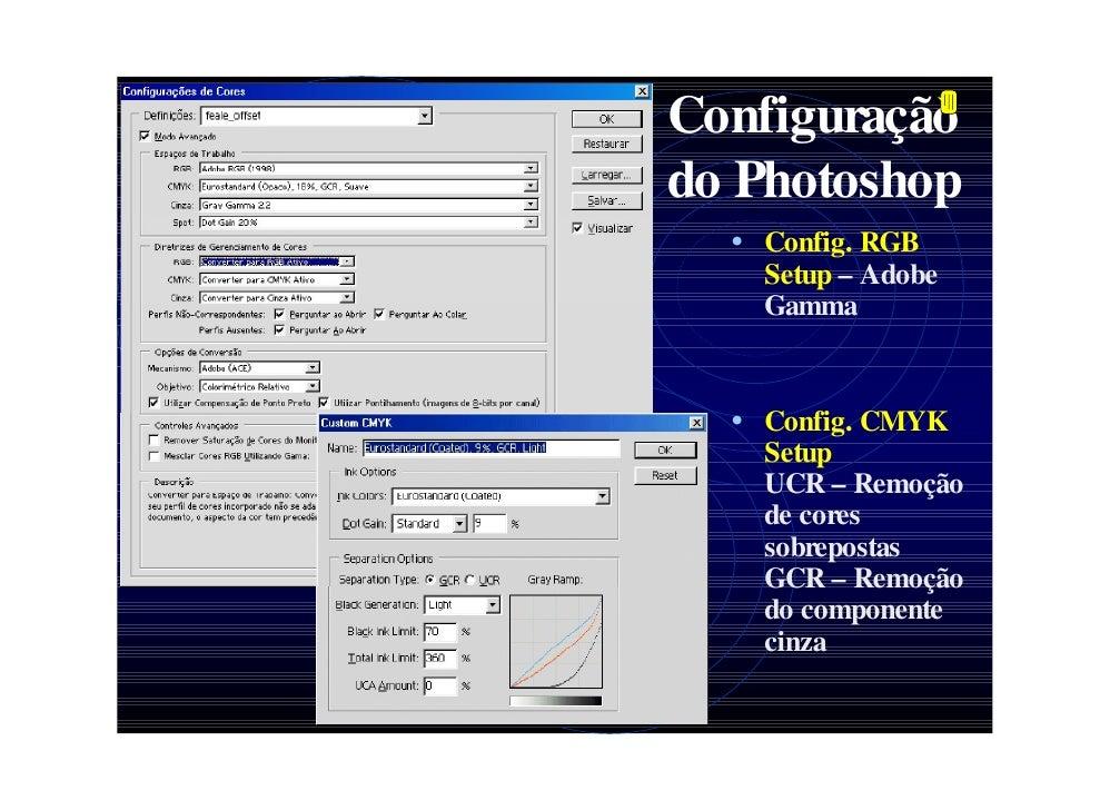 Configuração do Photoshop   • Config. RGB     Setup – Adobe     Gamma     • Config. CMYK     Setup     UCR – Remoção     d...