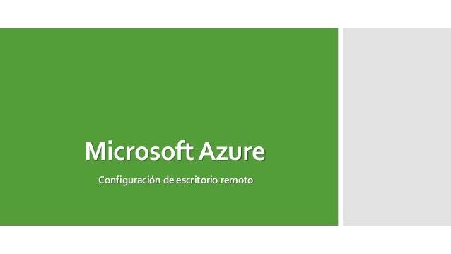 MicrosoftAzure Configuración de escritorio remoto