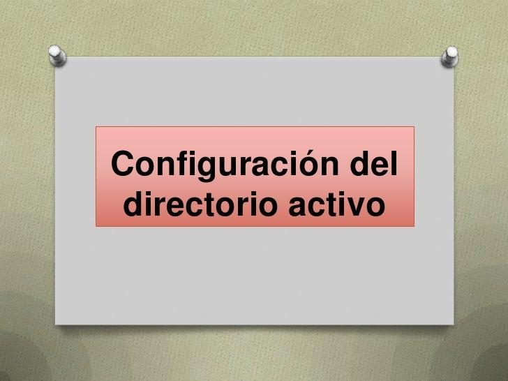 Configuración del directorio activo