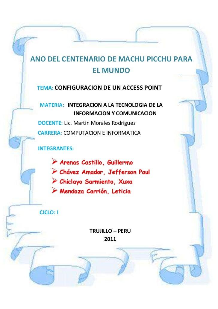INTEGRACION A LA TECNOLOGIA DE LA              INFORMACION Y COMUNICACIONDOCENTE: Lic. Martin Morales RodríguezCARRERA: CO...