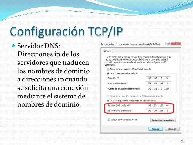 Configuración TCP/IP Servidor DNS: Direcciones ip de los servidores que traducen los nombres de dominio a direcciones ip ...