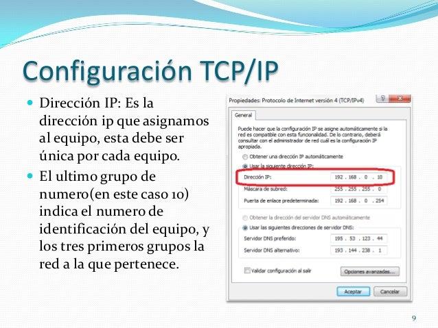 Configuración TCP/IP Dirección IP: Es la  dirección ip que asignamos  al equipo, esta debe ser  única por cada equipo. E...