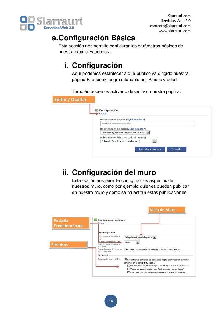 Configuracion de paginas facebook