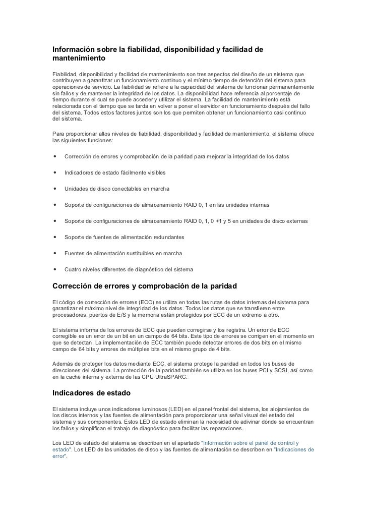 Información sobre la fiabilidad, disponibilidad y facilidad demantenimientoFiabilidad, disponibilidad y facilidad de mante...