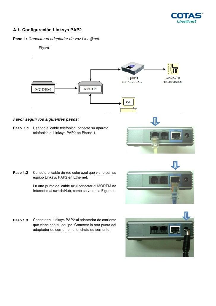 A.1. Configuración Linksys PAP2Paso 1: Conectar el adaptador de voz Line@net.              Figura 1Favor seguir los siguie...