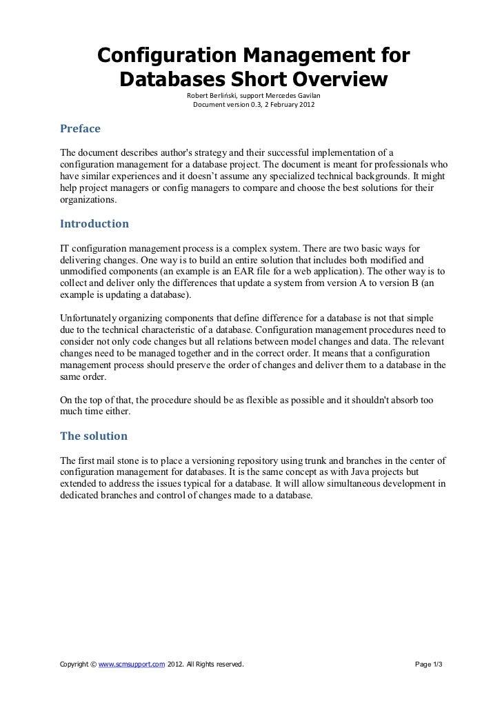 Configuration Management for             Databases Short Overview                                       Robert Berliński, ...