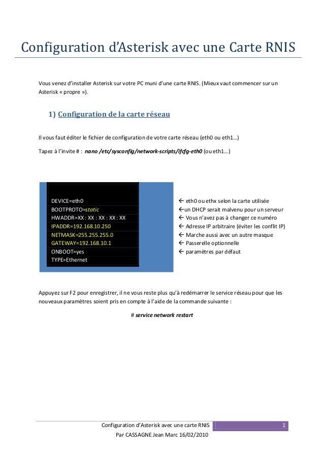 Configuration d'Asterisk avec une Carte RNIS  Vous venez d'installer Asterisk sur votre PC muni d'une carte RNIS. (Mieux v...