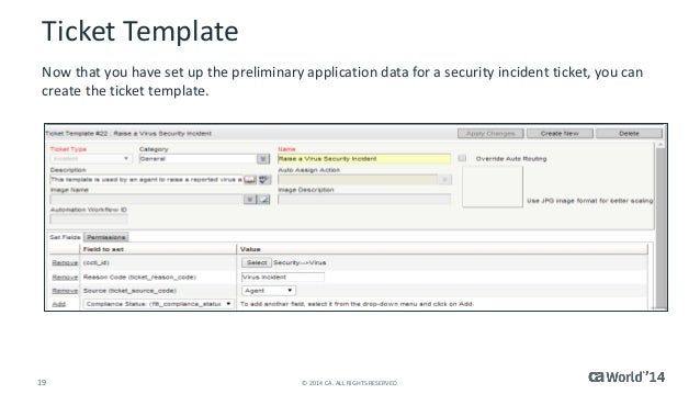 Ca cloud service management configuring incident management for Repair ticket template