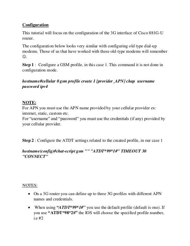 Configure Cisco Router 3G/4G Mobile Cellular Interface