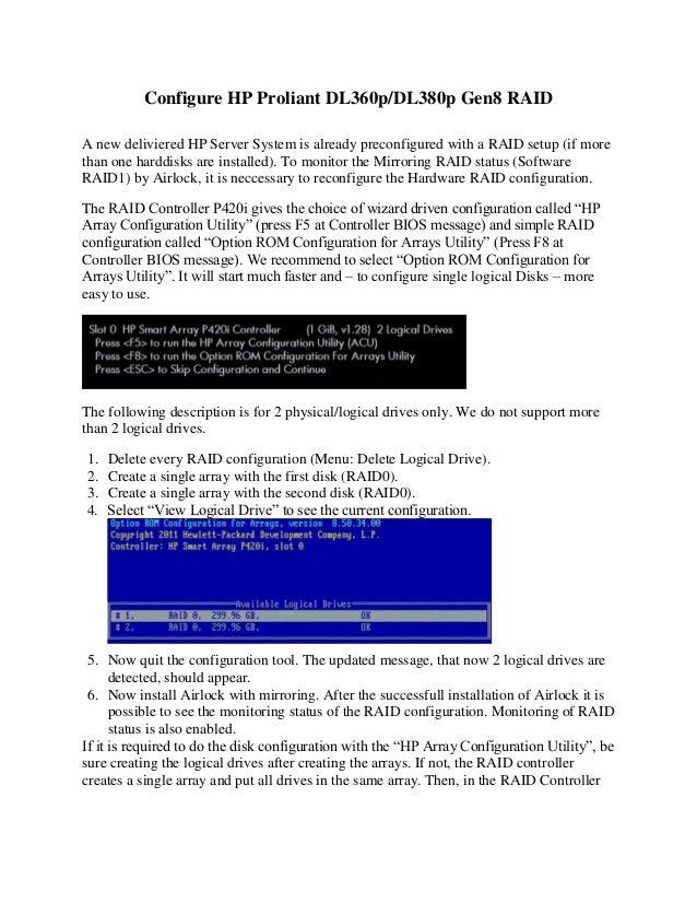 Configure HP Proliant DL360p - DL 380p Gen8 RAID