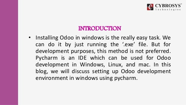 How to configure PyCharm for Odoo development in Windows?