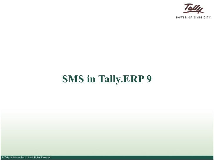 SMS in Tally.ERP 9