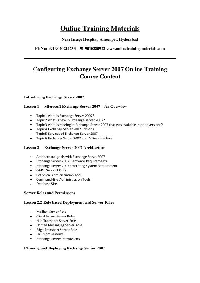 Configuring Exchange Server 2007 Online Training Institutes