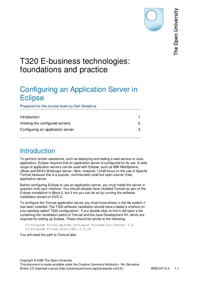 T320 E-business technologies:  foundations and practice  Configuring an Application Server in  Eclipse  Prepared for the c...