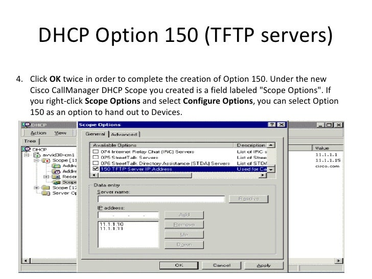 Tftpd32 Dhcp Option 150 Cisco - holdingsstaff