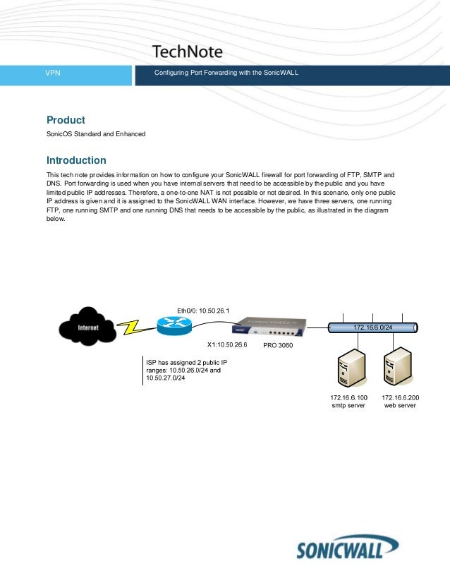 VPN Configuring Port Forwarding with the SonicWALL Product SonicOS Standard and Enhanced Introduction This tech note provi...