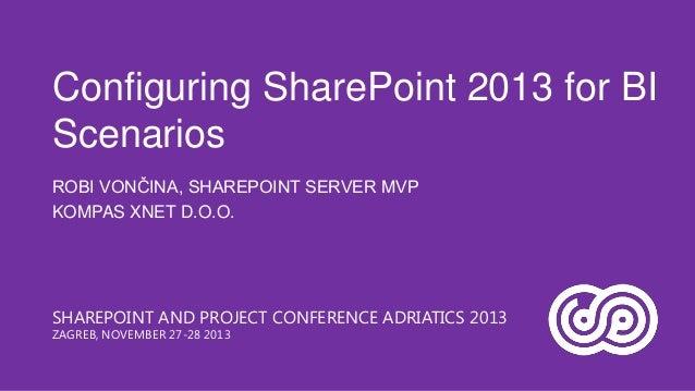 Configuring SharePoint 2013 for BI Scenarios ROBI VONČINA, SHAREPOINT SERVER MVP KOMPAS XNET D.O.O.  SHAREPOINT AND PROJEC...