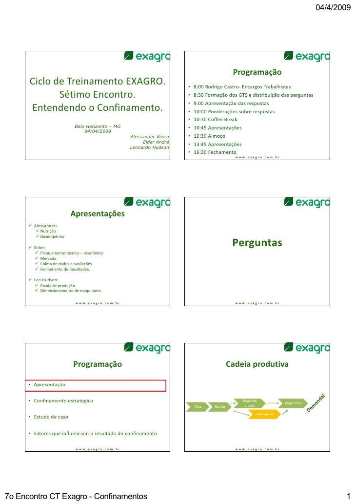 ProgramaçãoCiclo de Treinamento EXAGRO.                                    •   8:00 Rodrigo Castro‐ Encargos Trabalhistas ...