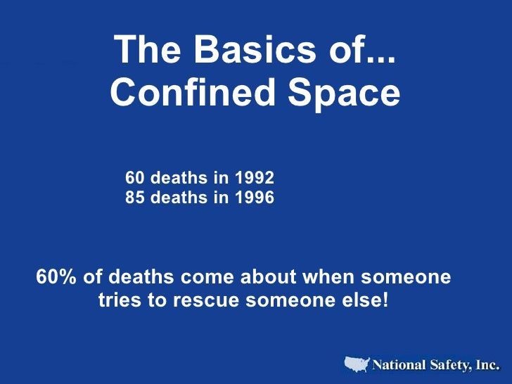 The Basics of...       Confined Space         60 deaths in 1992        85 deaths in 1996    60% of deaths come about when ...