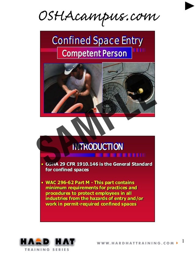Confined space 8 hr competent person training by osh acampus.com