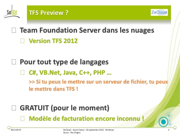 Integration continue: TFS Preview Slide 2