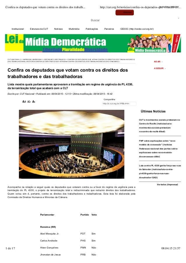 Institucional Estrutura da CUT Notícias Multimídia Publicações Parceiros CEDOC (http://cedoc.cut.org.br/) CUT NACIONAL (/)...