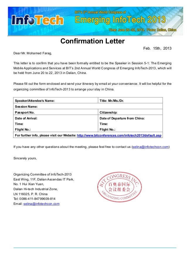 Confirmation Letter Feb. 15th, 2013 Dear Mr. Mohamed Farag, This letter is to confirm that you have been formally entitled...