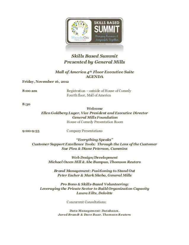Skills Based Summit                         Presented by General Mills                    Mall of America 4th Floor Execut...