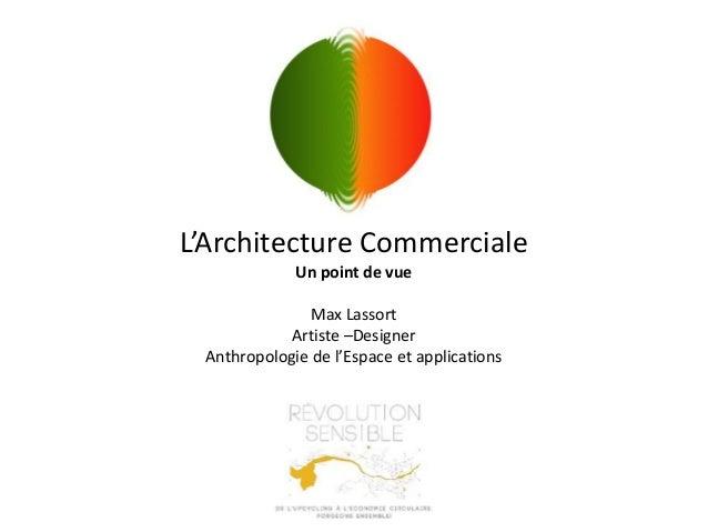 L'Architecture Commerciale Un point de vue Max Lassort Artiste –Designer Anthropologie de l'Espace et applications