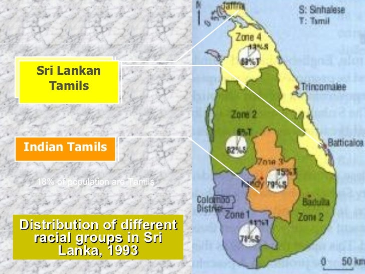 Distribution of different racial groups in Sri Lanka, 1993 Indian Tamils Sri Lankan Tamils Sri Lankan Tamils 18% of popula...