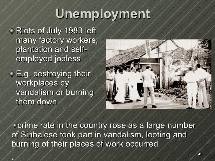 Unemployment <ul><li>Riots of July 1983 left many factory workers, plantation and self-employed jobless  </li></ul><ul><li...