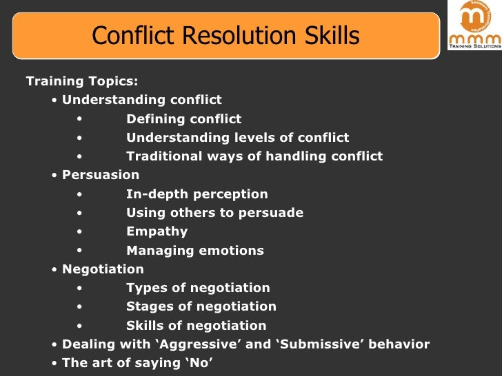 negotiations conflict resolution Earn an ms in negotiations and conflict management at the university of baltimore a master's that helps you analyze, understand and address social conflict.