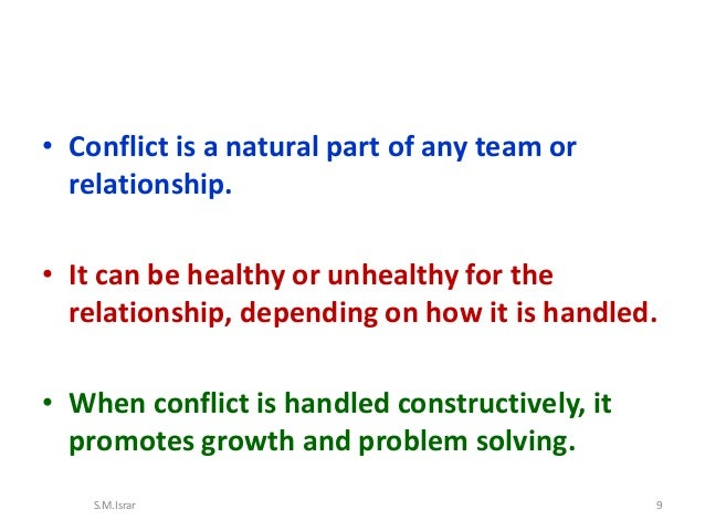 describe a conflict Can successfully resolve conflicts to bring positive results this chapter will  emphasize ways to handle conflict first, we will define conflict and describe the  role.