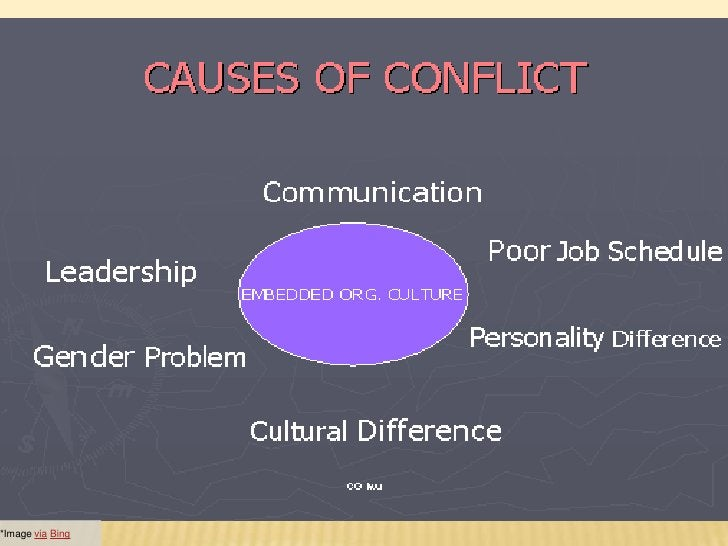 THERE COULD BE N NUMBER OF CAUSES FOR CONFLICT scarcity of resources (finance, equipment,  facilities, etc) different at...