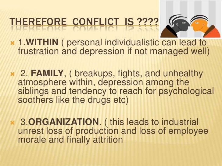 CONFLICT BETWEEN INDIVIDUALS   People have differing styles of    communication, ambitions, political or    religious vie...
