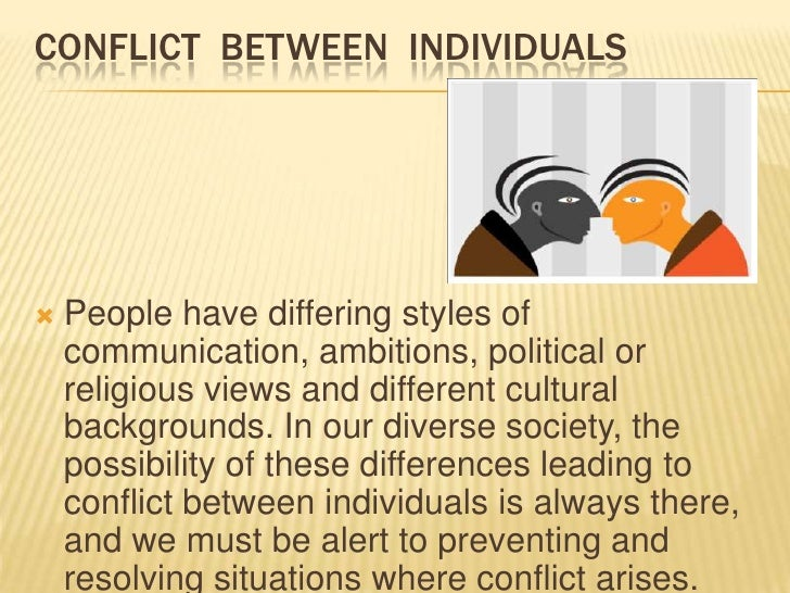 CONFLICT BETWEEN GROUP OF PEOPLE   Whenever people form groups, they tend to    emphasize the things that make their grou...