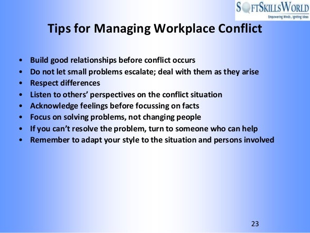 WORKPLACE CONFLICT RESOLUTION TIPS AND STRATEGIES