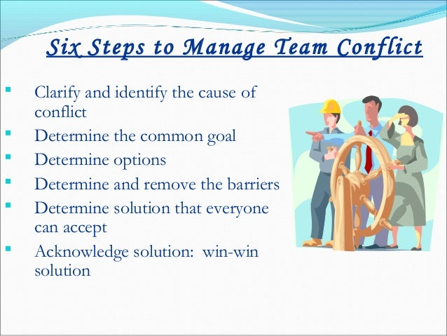 managing and resolving conflict in a team So you need to be prepared to resolve those differences of opinion with a conflict  how to resolve conflicts between project team  conflict on your team.