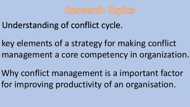 Key elements of conflict resolution