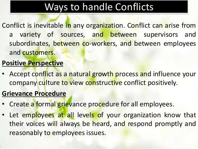 organisations conflict managing Managing conflict, stress and the emotional side of  and being realistic about achieving goals are all important in managing stressful  responding to conflict.