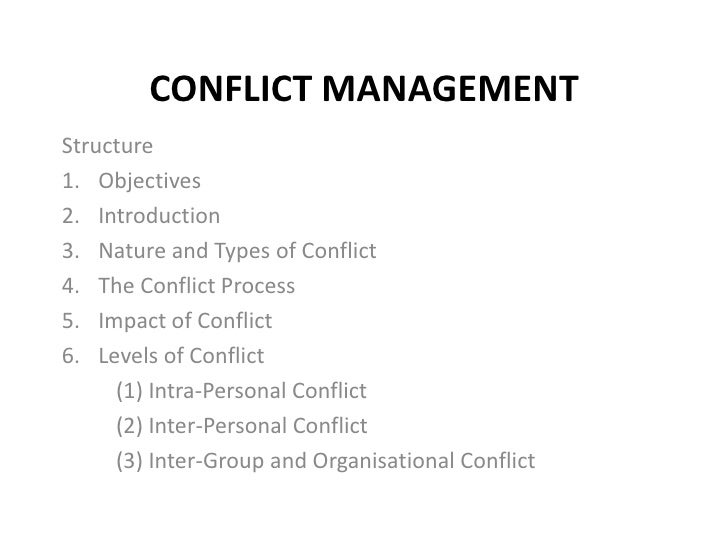 CONFLICT MANAGEMENTStructure1. Objectives2. Introduction3. Nature and Types of Conflict4. The Conflict Process5. Impact of...