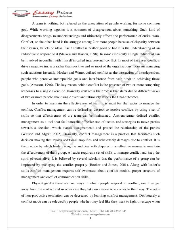 conflict and negotiation in the workplace essay