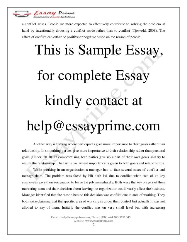 conflict management essay sample 3 a conflict