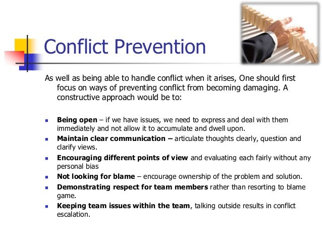 Conflict management in teams