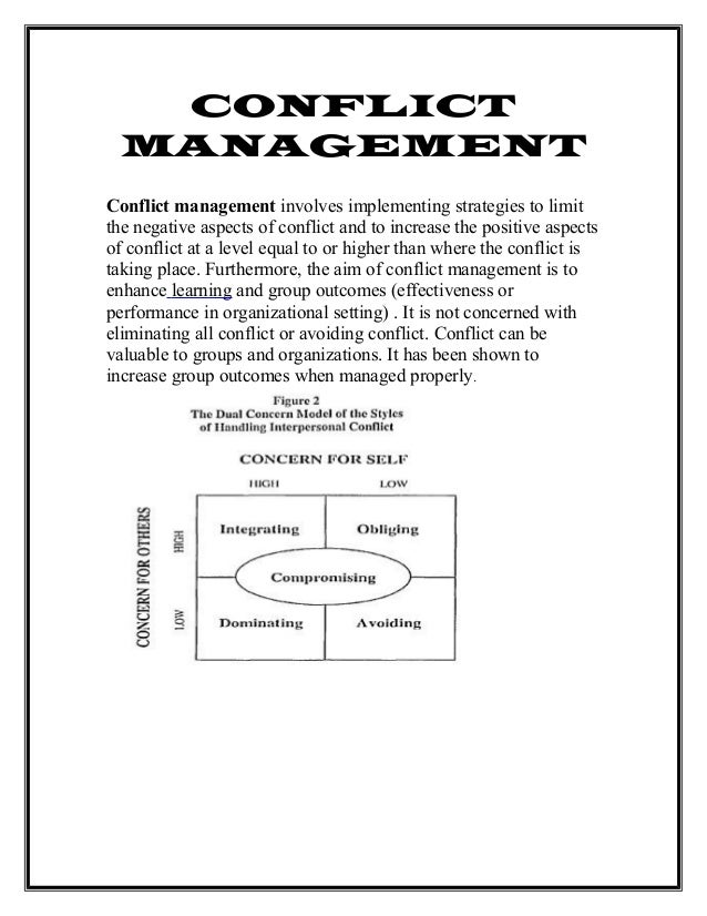 team strategy and conflict management Using conflict resolution strategies in the workplace will help maintain a healthy work environment conflict resolution requires specific leadership skills, problem solving abilities and decision making skills.