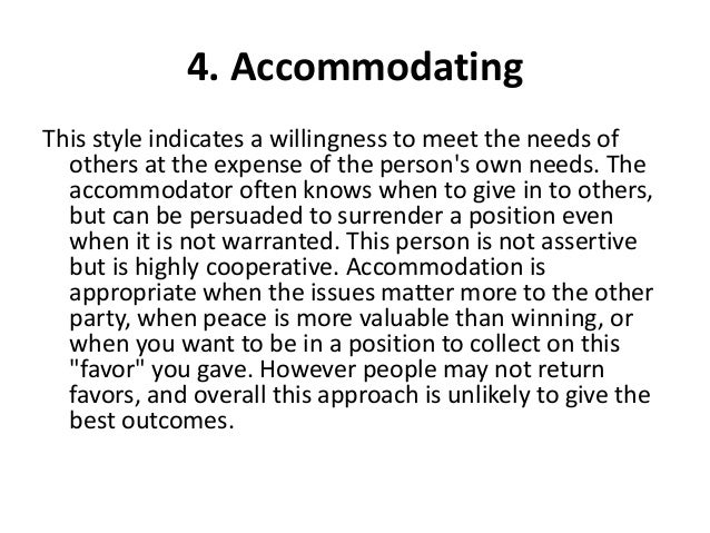 Accommodating conflict definition in psychology