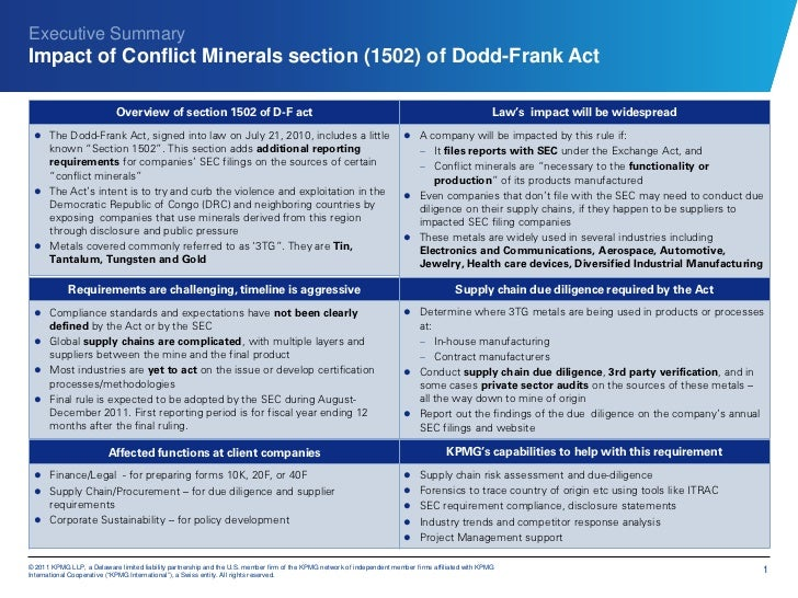 Executive SummaryImpact of Conflict Minerals section (1502) of Dodd-Frank Act                            Overview of secti...